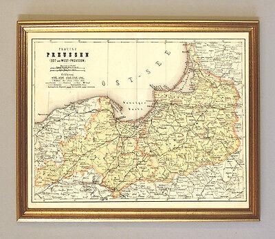 Ostpreussen Westpreussen Faksimile 27 nach Original Karte von 1865 im Goldrahmen
