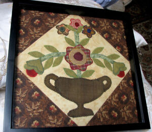 Courtepointe dans cadre / Framed machine Quilt style Painting