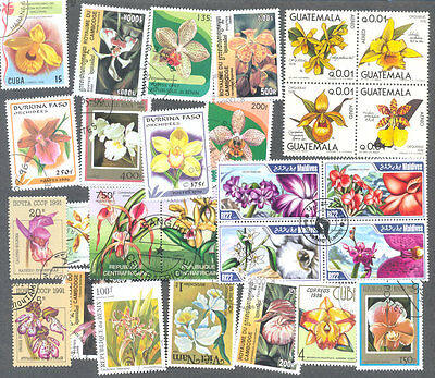 Orchids-100 all different  stamps collection-Flowers