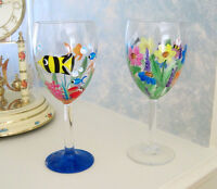 Hand Painted WINE / WATER GLASSES - Fish and Flowers