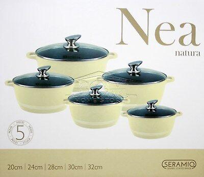5pc Ceramic Coated Non Stick Die-Cast Casserole Set INDUCTION Cookware CREAM SH Non Stick Cast