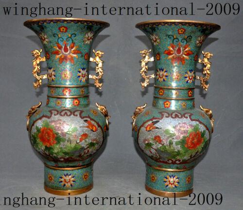 China purple copper Cloisonne enamel 24K gold Gilt beast flower Bottle Vase Jar