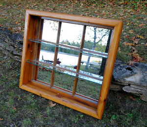 Window/Mirror with 2 Shelves Refinished Pine window frame