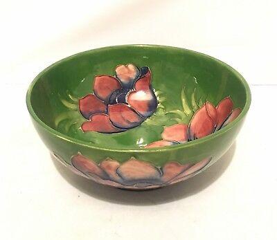 William Moorcroft Large Green Anemone Pottery Dish / Bowl