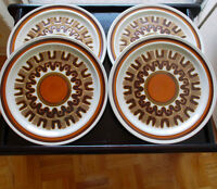 Vintage, Retro Plate Set for 4 - Haniwa Stone 'Aztec', Japan