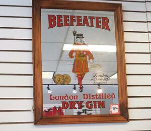 BeefEater London Dry Gin Advertising Mirror wood frame
