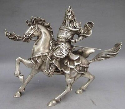 Chinese Silver Horse - Chinese Collectable Tibet Silver Warrior God Guan Yu & Horse Statue     Z633
