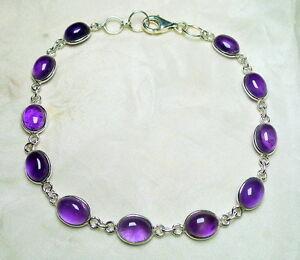 Amethyst Armband 925 Silber 9 x 5 mm große ovale lila Cabochons modisch neu