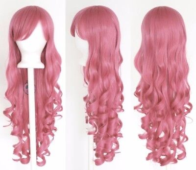 Pink Wig Costumes (Pink 80cm Women Long Curly Wavy Hair Wig Fashion Costume Party Anime)
