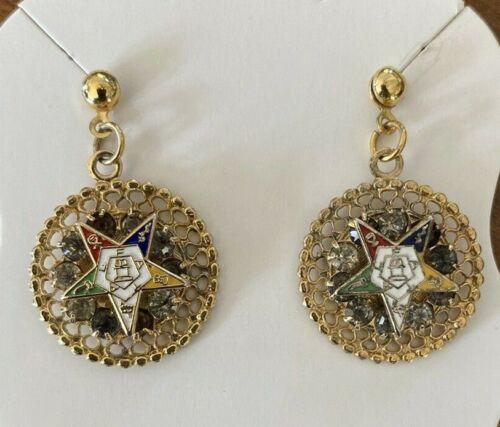 Vintage Order of the Eastern Star (OES) Masonic Rhinestone Earrings (Pierced)