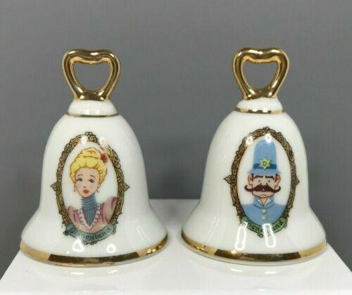 Vintage Disneyland Princess & Prince Bell Shape Porcelain Salt & Pepper Shakers