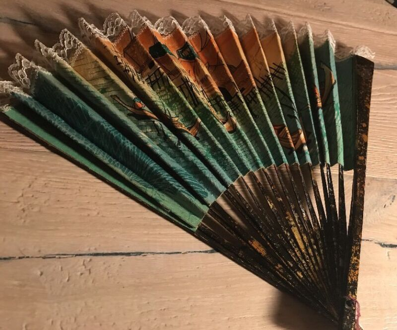 Antique Laquered Wood Chinese Hand Painted Cloth And Lace Hand Fan