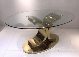 Dining Table - Oval Glass Top Golden Metal Base New in the box
