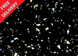3000 x 600 x 40mm Black Sparkle Quartz Kitchen Worktop - BRAND NEW
