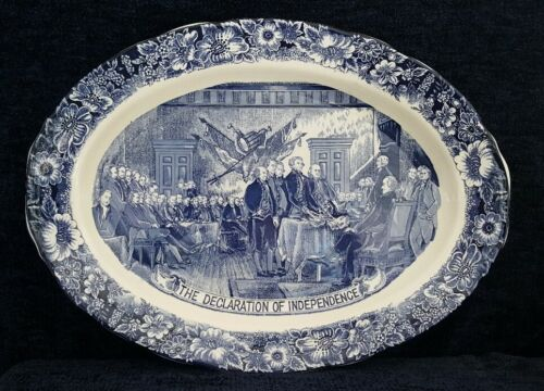 "RARE GENUINE Staffordshire Declaration of Independence Liberty Blue 20"" Platter"