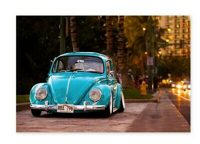 Vintage Car Decor (Vintage Car Poster Wall Art Volkswagen Beetle Home Decor)