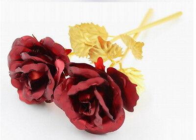 Goldene Gold Rose mit 999 vergoldet Gold-Rot Geburtstag Geschenk Hochzeit NEU Vergoldete Rose