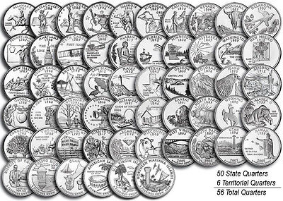 """1999-2009 US State Territorial Quarters Complete Uncirculated Set """"P"""" 56 coins"""