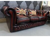 Refurbished Vintage Chesterfield 3 Seater Sofa in Oxblood Red Leather - Uk Delivery