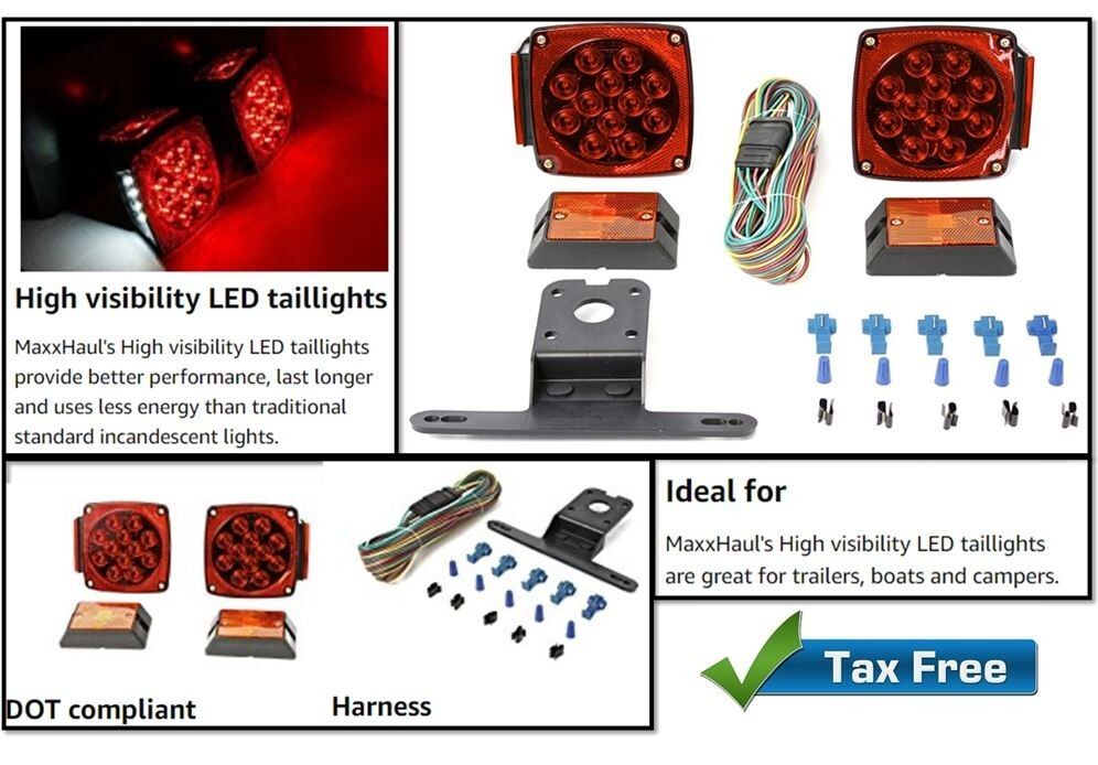 Trailer Tail Red LED Light Surface Mount And Side Markers with Brackets Wire Kit