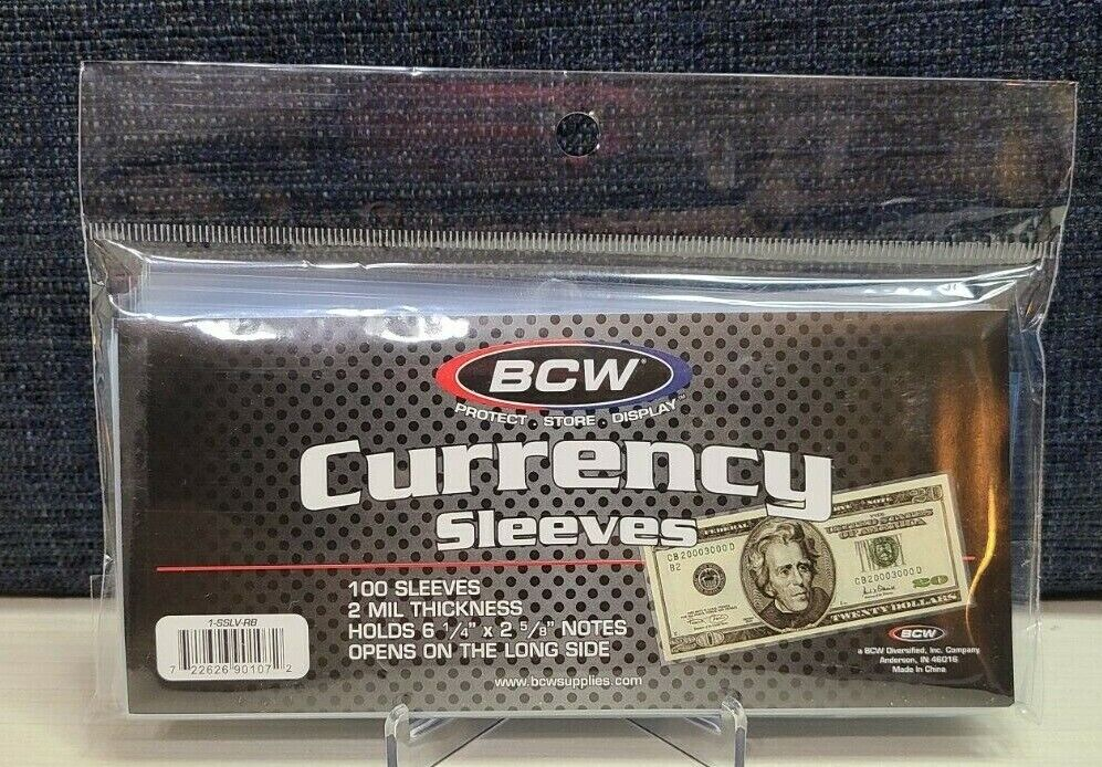 1 Pack - US Currency Paper Money Bill Protector Sleeves for Regular Bills - BCW