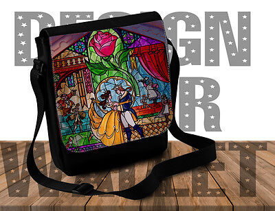 Shoulder Bag, Beauty and the beast stain glass, Disney, purse, cross body bag