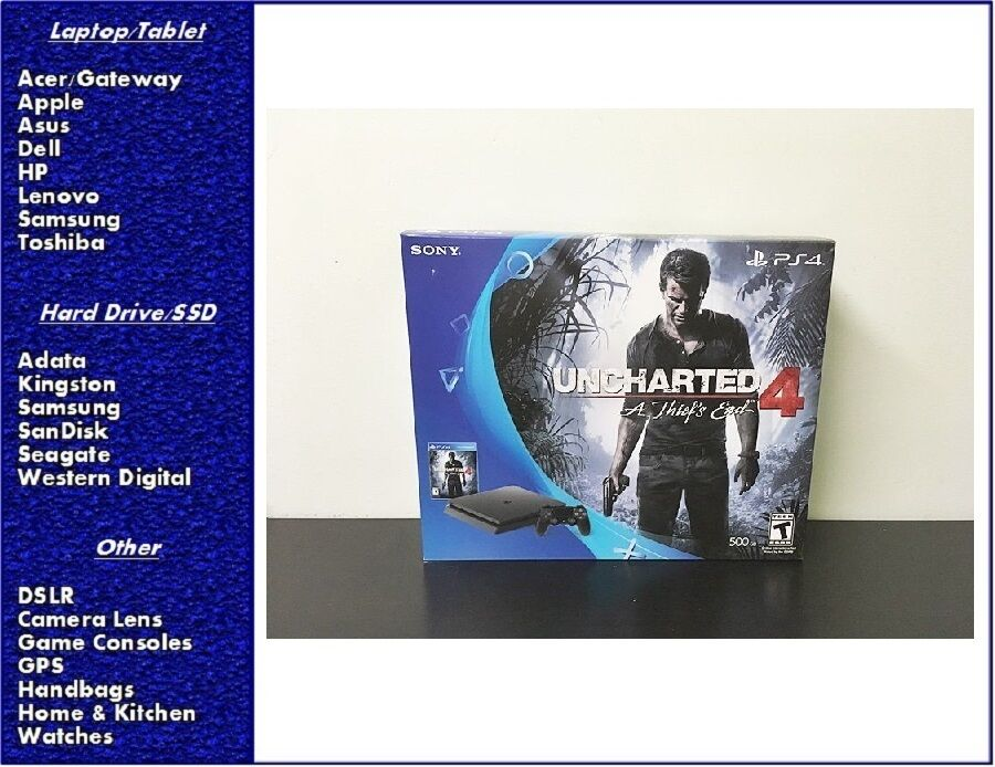 NEW Sony PlayStation 4 Slim 500GB Console - Uncharted 4 Bundle, SEADLED