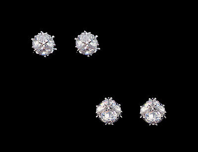 CUBE STUD EARRINGS CLEAR ROUND CZ CRYSTAL TITANIUM POST UNISEX 5mm 6mm ()