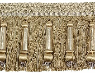 "HOULÈS Baded Cut Fringe 125 mm (5"") Antique Gold, Marly 33392-9108 Luxury Trim"