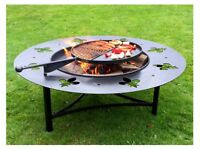 FIRE PIT WITH SWING ARMS BBQ RACK