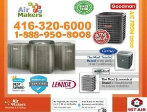 FURNACE & Air Conditioner ON SALE CARRIER | LENNOX | GOODMAN  A/C FROM $1800 OR  FINANCE it $30/M  FURNACE REBATE $1900