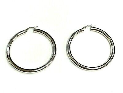 Large All Shiny Band Style Hoop Earrings 14k white gold 1.5 inches diameter