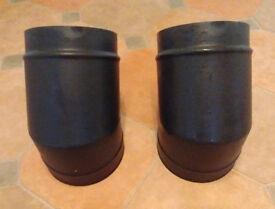 2 x 6 inch (152mm) vitreous enamel matt black 45 degree bends for wood burner flue
