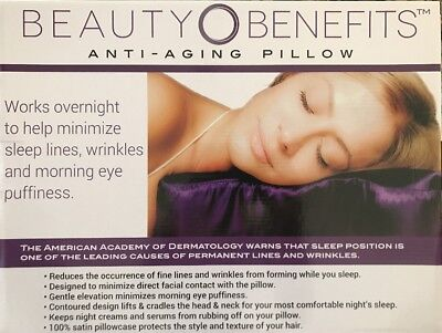 Beauty Benefits Anti-Aging Pillow, Purple Sleeping Bed Pillow - Purple Pillow
