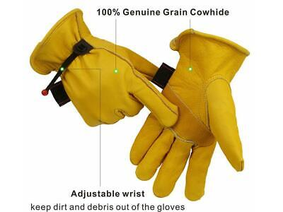 Leather Gloves Insulated Cowhide Motor Garden Rigger Winter Work Driver Gloves
