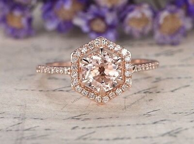 1.35 Ct Morganite & Diamond Solitaire Engagement Promise Ring 14K Rose Gold $589