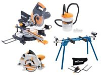 RAGE3-DB 255mm TCT D/Bevel Sliding Mitre Saw/ Stand/Dust-extract/Cir-saw