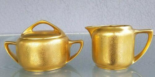 Antique Pickard Art Deco Cream & Lidded Sugar Bowl C. 1918 Gold Schlackenwerth