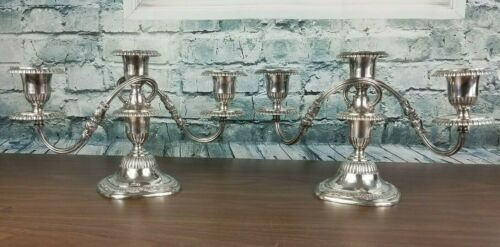 Vintage Pair Of  Silver Plate Candelabra Candle Holder Reed And Barton 5105