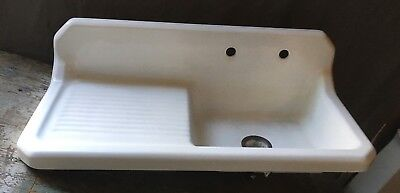 Vtg Mid Century Art Deco Cast Iron White Porcelain Farm Sink Kitchen 164-18E