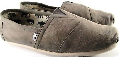 Toms Men Canvas Shoes Size 10 Khaki Fabric Lined Leather Insole Foam Sole