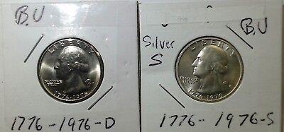 1776-1976 S Bicentennial Silver B.U. & Clad B.U. Washington Quarter Uncirculated