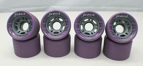Clawz Sure-Grip 62mm Roller Skate Wheels Set of 8 Purple/ Gray ~NEW