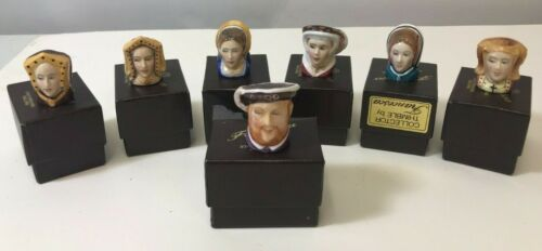 Henry VIII and Six Wives Francesca Staffordshire England China Thimbles COMPLETE