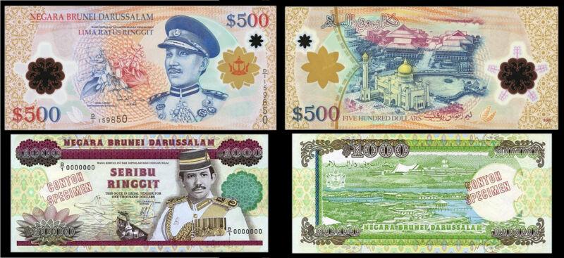 !COPY! BRUNEI 500$ DOLLARS 2006 + 1000 DOLLARS 1989 BANKNOTES !NOT REAL!