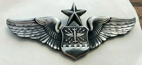 USAF SENIOR NAVIGATOR WINGS; REGULATION FULL SIZE,OXIDIZED SILVER