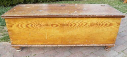 "Antique Original Paint dovetailed 50"" GRAIN BIN blanket chest window seat"
