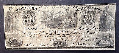Farmers   Merchants Bank Of Memphis 1854 Note With Watermark   Red Fifty On Back