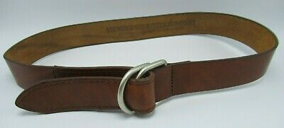 Abercrombie & Fitch Genuine Leather Belt w Brass D Ring Buckle Sz 32 Vintage USA
