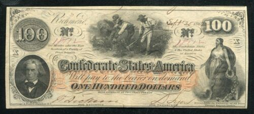 """T-41 CR. 320 1862 $100 CSA CONFEDERATE STATES OF AMERICA """"HOER"""" ABOUT UNC"""